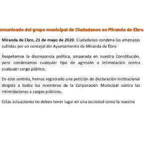 Ciudadanos condena las amenazas a un concejal del Ayuntamiento de Miranda de Ebro